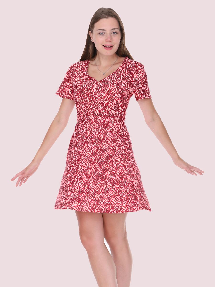 papatya desenli kırmızı elbise